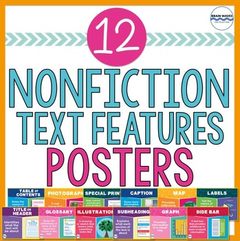 Nonfiction Text Features Posters - 12 Classroom Posters- Color & B/W Versions