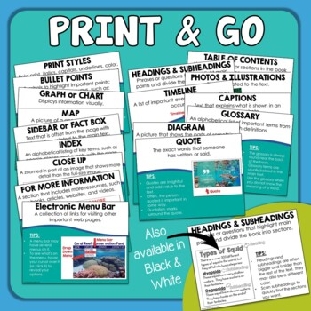 Nonfiction Text Features Posters - Mini Anchor Charts for Word Walls & Reference