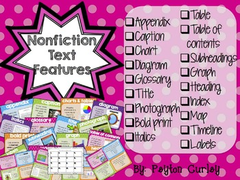Nonfiction Text Features: Posters and Task Cards!