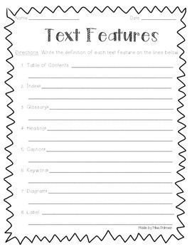 Nonfiction Text Features Practice Worksheets