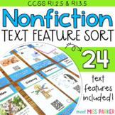 Nonfiction Text Features Sort, Nonfiction Text Features Literacy Center Activity
