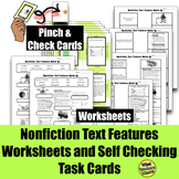 Nonfiction Text Features Worksheets and Task Cards (SELF CHECKING)