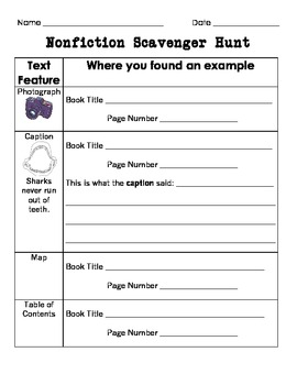 nonfiction text features scavenger hunt by abby mills tpt. Black Bedroom Furniture Sets. Home Design Ideas