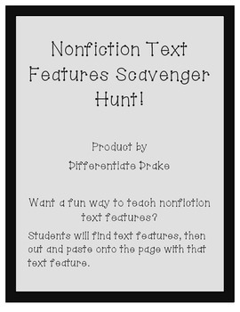 Nonfiction Text Features Scavenger Hunt