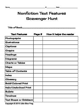 Nonfiction Text Features Scavenger Hunt--for any book