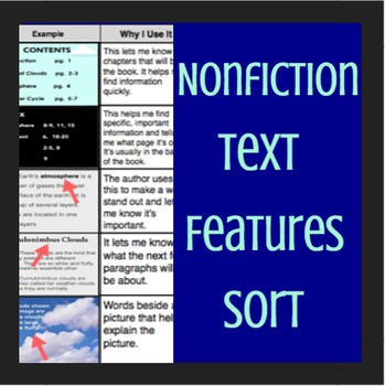 Nonfiction Text Features Sort