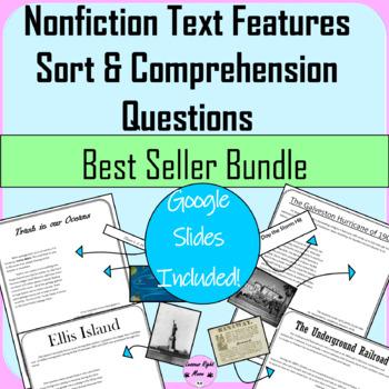 Nonfiction Text Features Sort Bundle with Comprehension Questions
