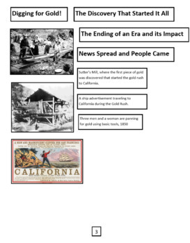 """Nonfiction Text Features Sort """"California Gold Rush"""" and comprehension questions"""