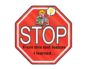Nonfiction Text Features Stop Signs Packet (Multi-Cultural)