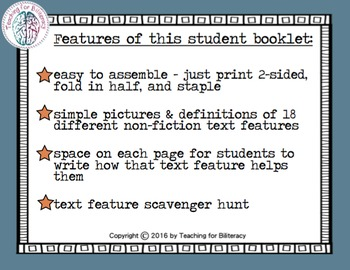 Nonfiction Text Features Student Booklet (Spanish)