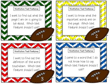 Nonfiction Text Features Task Card Riddles {Football Themed}