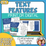 Nonfiction Text Features Task Cards Print or Digital for Informational Text