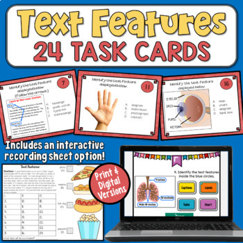 Nonfiction Text Features Task Cards FREEBIE