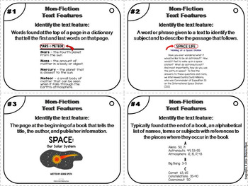 Nonfiction Text Features Task Cards 3rd 4th 5th 6th Grade