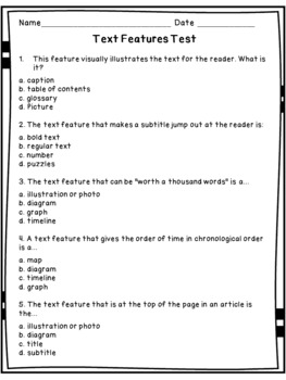 Nonfiction Text Features Test - editable in Power Point