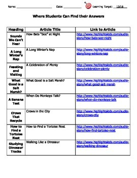 Nonfiction Text Features: Using Headings to Make Predictions