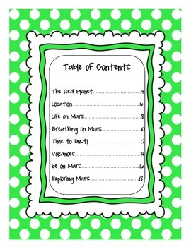 Nonfiction Text Features ~ Using a Table of Contents