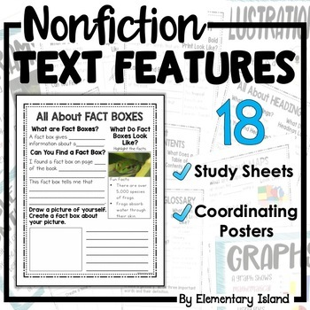 Nonfiction Text Features Worksheets and Posters