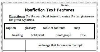 Nonfiction Text Features scaffolded assessment bundle
