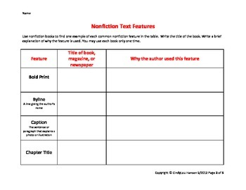 Nonfiction Text Features worksheet, 7th Grade, Common Core by ...