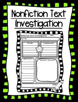 Nonfiction Text Investigation Reading Comprehension Graphic Organizer