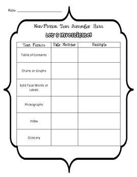 Nonfiction Text Scavenger Hunt
