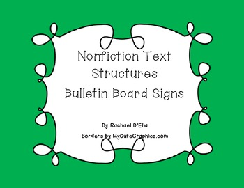 Nonfiction Text Structure Bulletin Board Signs