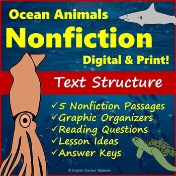 Nonfiction Text Structure - Life in the Ocean Reading Passages