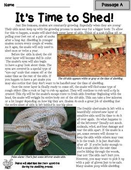 Nonfiction Text Structure Passages: Snakes!