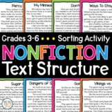 Nonfiction Text Structure Sorting Activity - Graphic Organizers - Task Cards