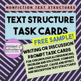 Nonfiction Text Structure Writing / Discussion Prompt Task Cards: Free Sample!