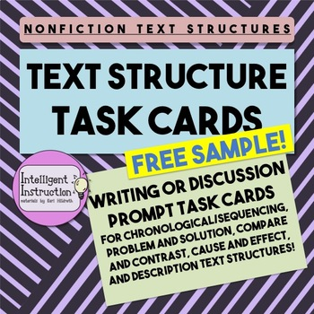 Nonfiction Text Structure Task Cards: Free Sample!