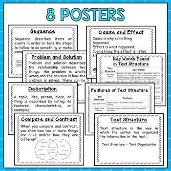 Nonfiction Text Structure Task Cards and Posters (4th and 5th Grade)