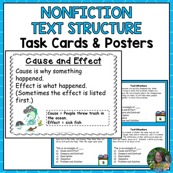 Nonfiction Text Structure Task Cards and Posters for 4th and 5th Grade