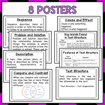 Nonfiction Text Structure Task Cards and Posters (3rd Grade)