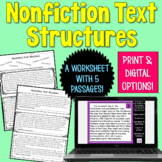 Informational Text Structure worksheet | PDF and Digital | Distance Learning