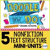 Nonfiction Text Structures - 5 Doodle and Do Sketch Notes and Activities BUNDLE