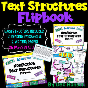Text Structures Flipbook- This resource includes practice passages and lesson plans!