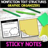 Nonfiction Text Structures POST IT NOTE Graphic Organizer Templates -Common Core