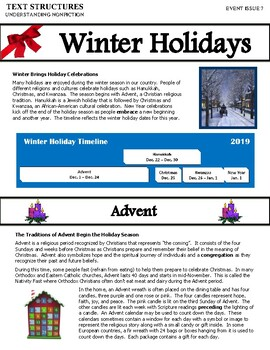 Text Structures Newsletter:  Winter Holidays Edition