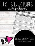 Nonfiction Text Structures Worksheet