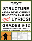 Nonfiction Text Structures with Lyrics: No Prep Lesson, Handouts, Key: RI.5