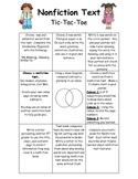 Nonfiction Text Tic Tac Toe Literacy Center