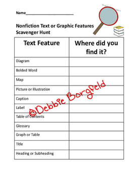 Nonfiction Text and Graphic Feature Scavenger Hunt with Bonus Worksheet