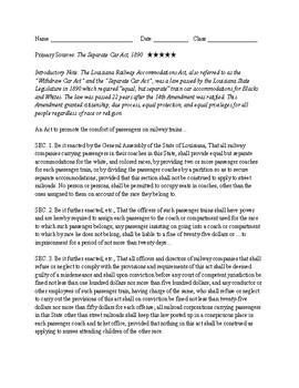 Nonfiction Texts: The Withdraw Car Act (1890) & Plessy vs. Ferguson (1896)
