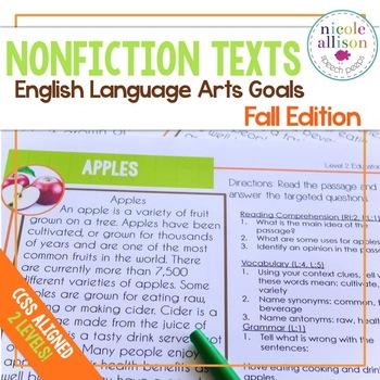 Nonfiction Texts with English Language Arts Targets {Fall