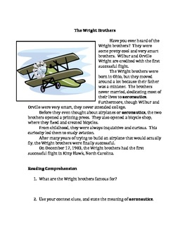 Nonfiction: The Wright Brothers and Henry Ford and the Model T (with questions)