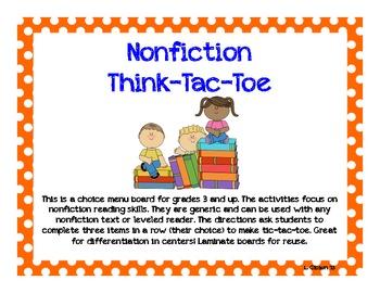 Nonfiction Think-Tic-Tac-Toe