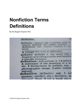 Nonfiction Vocabulary Terms and Definitions Printable