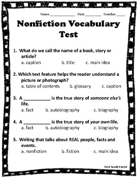Nonfiction Vocabulary Test [English AND Spanish Versions!]